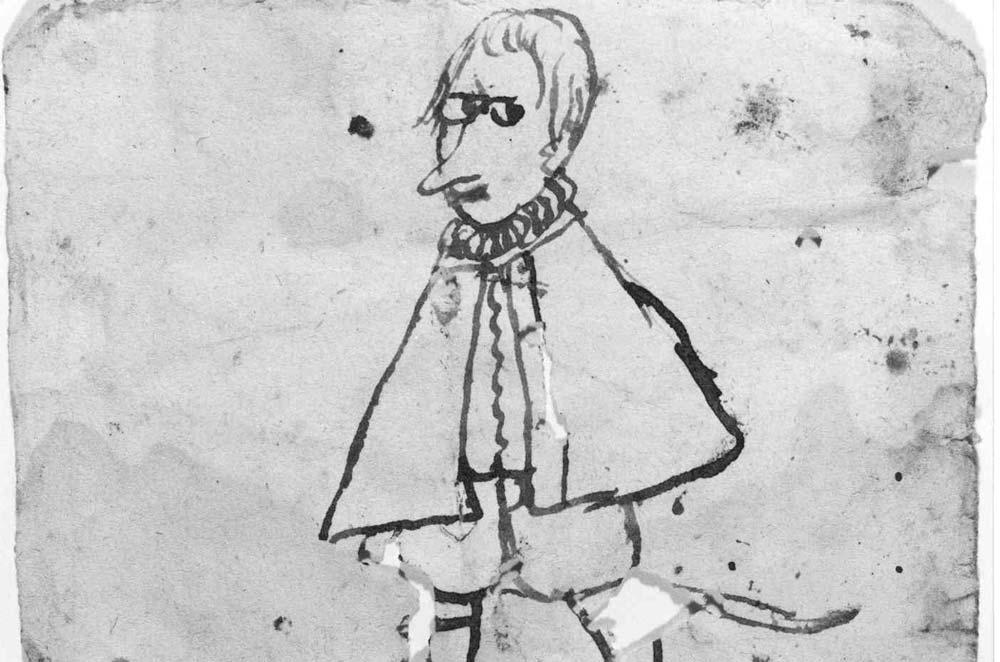 Lehrer, Karikatur eines Klosterschülers im Kloster Alpirsbach; Foto: Staatliche Schlösser und Gärten Baden-Württemberg, Werner Hiller-König