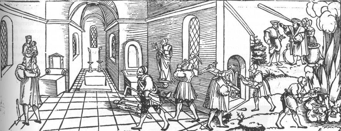 Flugblatt: Klagrede der armen verfolgten Götzen und Tempelbilder (Erhard Schön, um 1530, hier ohne Text); Foto: Wikipedia, gemeinfrei