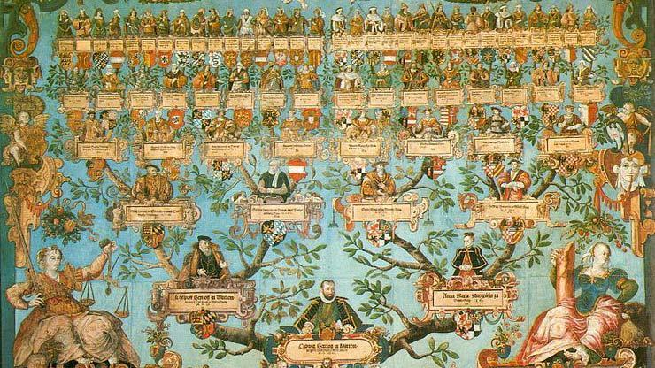 Duke Ludwig's family tree from 1585, by Joachim Lederlin, located at the Landesmuseum Württemberg. Image: Wikipedia, in the public domain