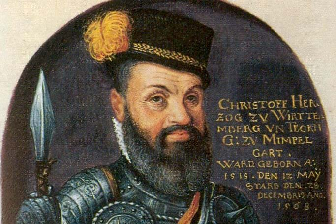 Duke Christoph on a parchment manuscript from the 16th century, artist unknown. Image: Wikipedia, in the public domain