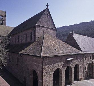 View of Alpirsbach Monastery and narthex from the northwest. Image: Landesmedienzentrum Baden-Württemberg, credit unknown