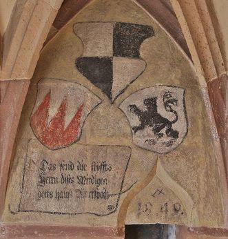Coats of arms of the founding families. Image: Staatliche Schlösser und Gärten Baden-Württemberg, Markus Schwerer