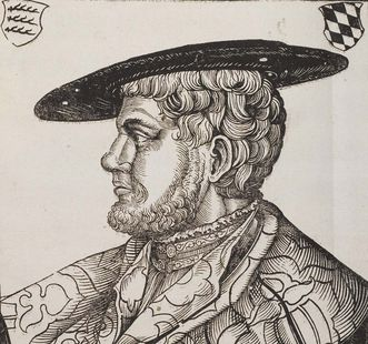 Duke Christoph, artwork by Hans Brosamer, 16th century, from Klebeband No. 2 (a form of art preservation in which loose leaves and parchments are pasted into a blank volume) of the Fürstlich Waldeck'sche Hofbibliothek in Bad Arolsen. Image: Wikipedia, in the public domain