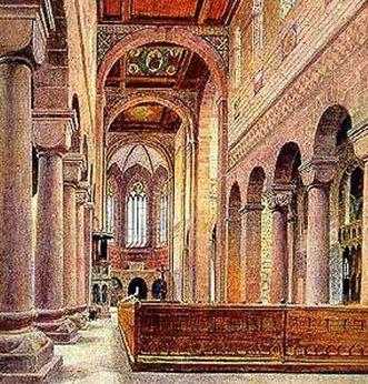 Gemälde der Kirche aus der Zeit des Historismus; Foto: Landesmedienzentrum Baden-Württemberg, Urheber unbekannt