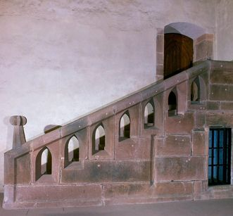 Dormitory stairs at Alpirsbach Monastery. Image: Staatliche Schlösser und Gärten Baden-Württemberg, Rose Hajdu