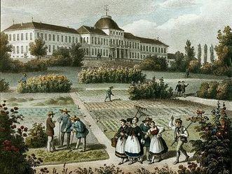 Land- und Forstwirtschaftliches Institut Hohenheim, nach einem Gemälde von Jakob Heinrich Renz, um 1845