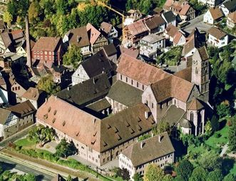 Aerial view of the monastery and immediate surroundings