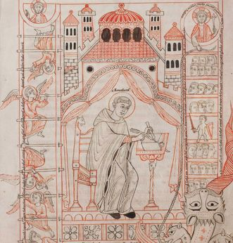 St. Benedict of Nursia. Image: Württembergische Landesbibliothek Stuttgart