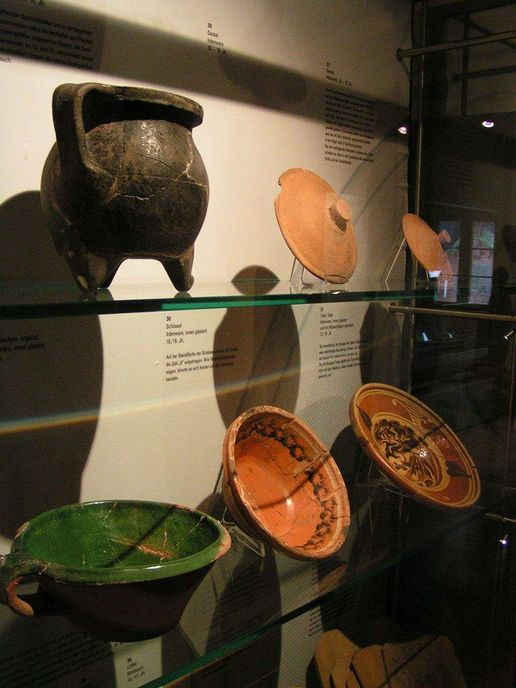 Alpirsbach monastery, earthenware jugs in the museum