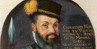 Herzog Christoph auf einer Pergamenthandschrift aus dem 16. Jh., unbekannter Künstler
