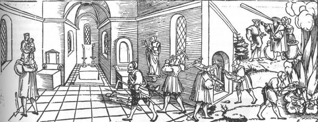 Flier: Klagrede (lamentations) of poor pursued false gods and temple images (Erhard Schön, circa 1530, here without text). Image: Wikipedia, in the public domain