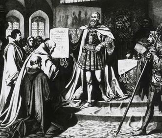 Dedication of the University of Tübingen in 1476: Count Eberhard I von Württemberg presenting the papal bull, lithograph by Carl von Häberlin. Image: Landesmedienzentrum Baden-Württemberg, Robert Bothner