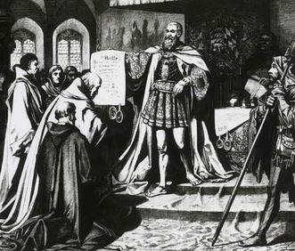Einweihung der Universität Tübingen 1476: Graf Eberhard I. von Württemberg überreicht die Bulle des Papstes, Lithografie von Carl von Häberlin