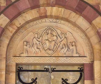 Tympanum with Christ within the mandorla above the main portal to the church at Alpirsbach Monastery. Image: Staatliche Schlösser und Gärten Baden-Württemberg, Markus Schwerer