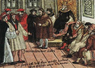 Luther at the Diet of Worms in 1521, woodcut. Image: Wikipedia, in the public domain